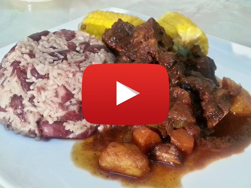 VIDEO: Best Jamaican Brown Stew Pork Served with Rice & Peas