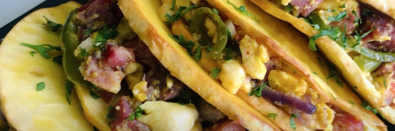 Danzii Ackee and Corned Pork Breadfruit Taco Recipe