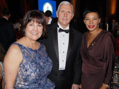 U.S. Vice President Elect Mike Pence (center) Karen Pence (Left) Jamaica's Ambassador Hon. Audrey Marks